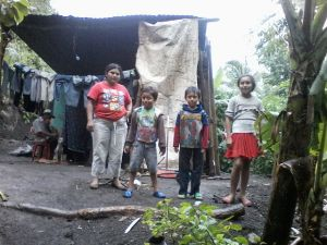 One of the families who will benefit from a latrine.